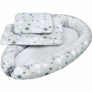 Luxusné hniezdočko s perinka pre bábätko New Baby bielo-šedé hviezdičky