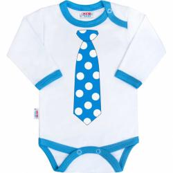 Body z nadrukiem New Baby z turkusowym krawatem
