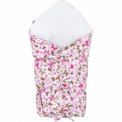 Klasická šněrovací zavinovačka New Baby růžoví motýli