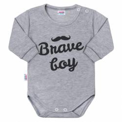 Body niemowlęce z długim rękawem New Baby Brave boy szare