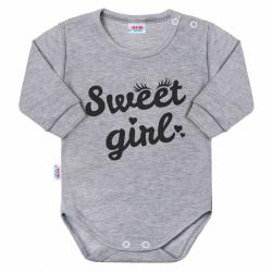 Body niemowlęce z długim rękawem New Baby Sweet girl szare