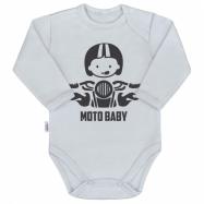 Body s potlačou New Baby Moto baby šedej