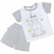 Detské letné pyžamko New Baby Hello s hrošík bielo-šedé