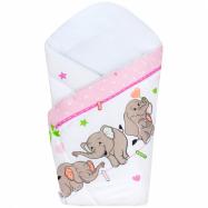 Dětská zavinovačka New Baby růžová se sloníky