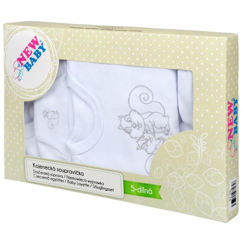 5-dielna súpravička New Baby Veveričky v krabičke biela