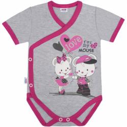 Detské body s bočným zapínaním krátky rukáv New Baby Love Mouse