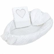 Luxusní hnízdečko s polštářkem a peřinkou New Baby Srdíčko bílé