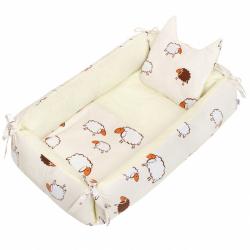 Multifunkční hnízdečko s polštářkem a peřinkou New Baby ovečky béžové