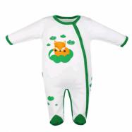 Dojčenský bavlnený overal New Baby Liška zelená