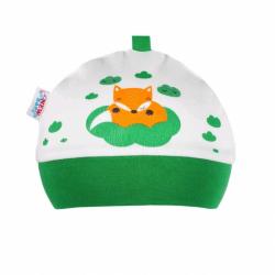Dojčenská bavlnená čiapočka New Baby Liška zelená