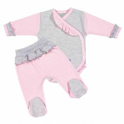 2-dielna kojenecká súprava New Baby Puntík II šedo-ružová