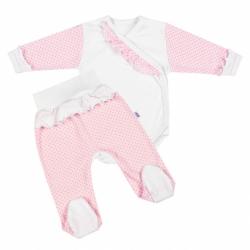 2-dielna kojenecká súprava New Baby Puntík II bielo-ružová