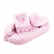 Luxusné hniezdočko s vankúšikom a perinkou New Baby Srdiečko ružové