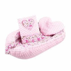 Luxusní hnízdečko s polštářkem a peřinkou New Baby Srdíčko růžové