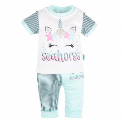 Dojčenské tričko s krátkym rukávom a tepláčky New Baby seahorse