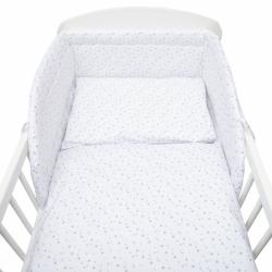 3-dielne posteľné obliečky New Baby 100/135 cm bielej šedej Hviezdičky