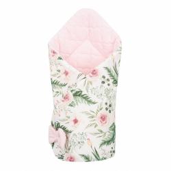 Oboustranná zavinovačka z Velvet New Baby 75x75 cm květiny růžová