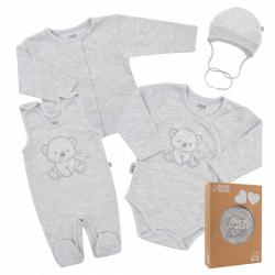 Dojčenská súpravička do pôrodnice New Baby Sweet Bear šedá