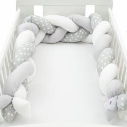 Ochranný mantinel do postýlky cop New Baby Puntík šedo-bílý