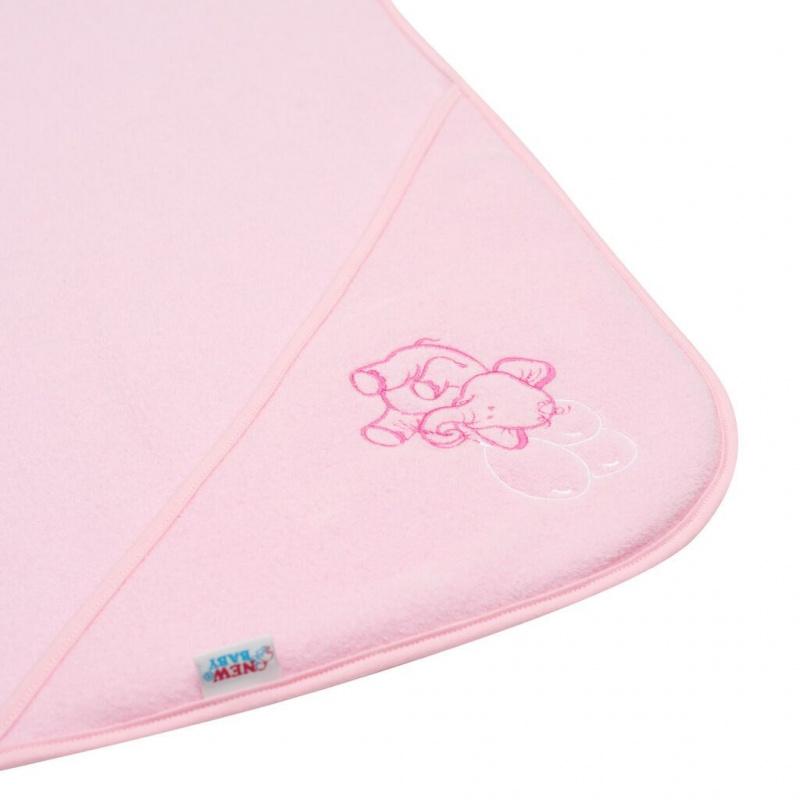 Dětská froté osuška s výšivkou a kapucí New Baby 80x80 růžová sloník