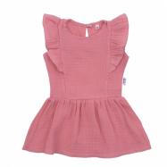 Dojčenské mušelínové šaty New Baby Summer Nature Collection ružové