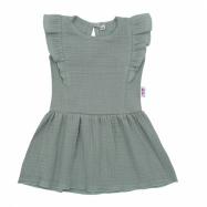 Dojčenské mušelínové šaty New Baby Summer Nature Collection mätove