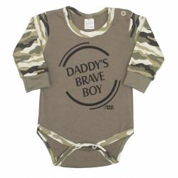 Dojčenské body s dlhým rukávom New Baby Army boy