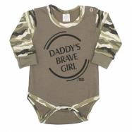 Dojčenské body s dlhým rukávom New Baby Army girl