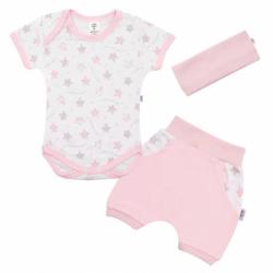 3-dielna letné bavlnená súprava New Baby Perfect Summer ružová