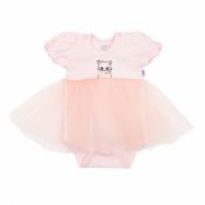 Dojčenské body s tylovou sukienkou New Baby Wonderful ružové