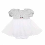 Dojčenské body s tylovou sukienkou New Baby Wonderful šedej
