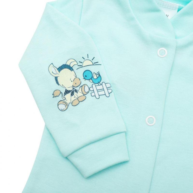 Dojčenský kabátik New Baby Donkey tyrkysový