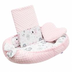 Luxusní hnízdečko s polštářkem a peřinkou New Baby z Minky růžové