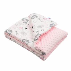 Detská deka z Minky s výplňou New Baby Medvedíci ružová 80x102 cm