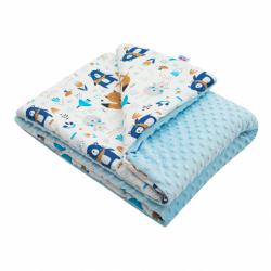 Detská deka z Minky s výplňou New Baby Medvedíci modrá 80x102 cm