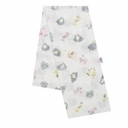 Bavlnená plienka s potlačou New Baby biela sovy ružové