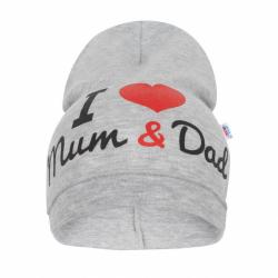 Detská čiapočka New Baby I Love Mum and Dad šedá