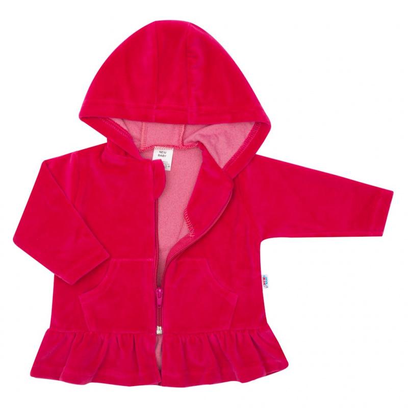 Semišková mikinka s kapucňou New Baby Baby tmavo ružová
