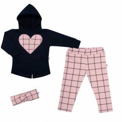 3-częściowy bawełniany komplet dziewczęcy New Baby Cool Girls niebiesko-różowy