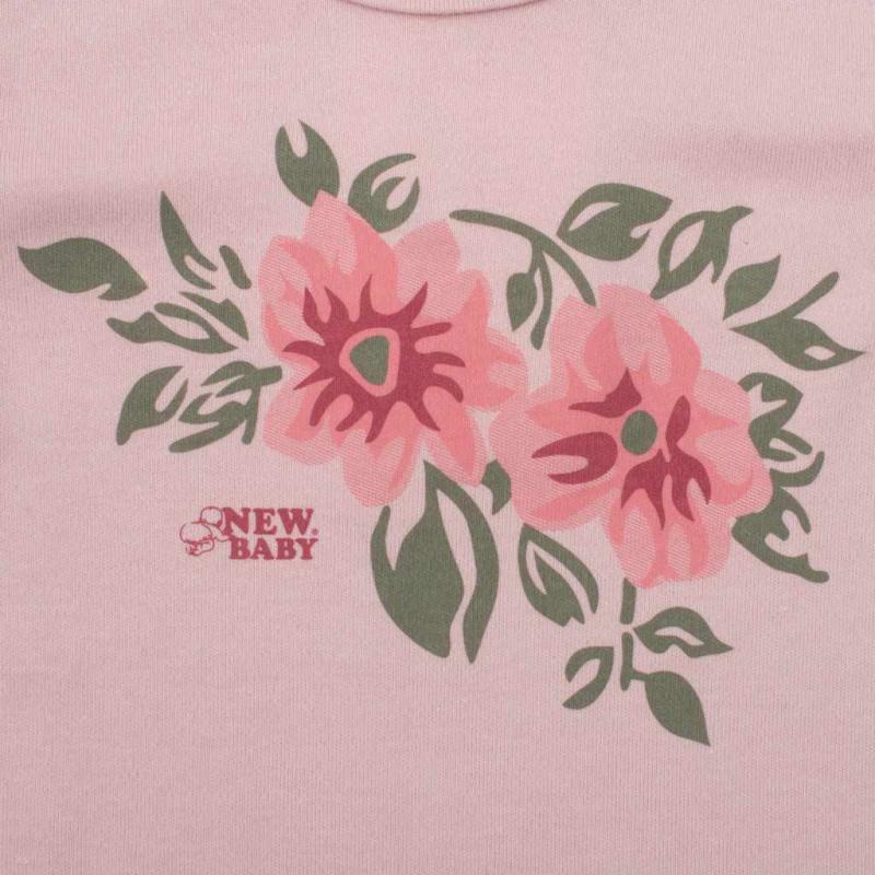Kojenecké body s dlouhým rukávem New Baby Flowers růžové