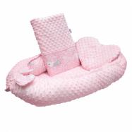 Luxusní hnízdečko s polštářkem a peřinkou New Baby z Minky Králíčci růžové