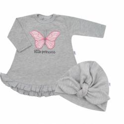 Dojčenské šatôčky s čiapočkou-turban New Baby Little Princess šedej