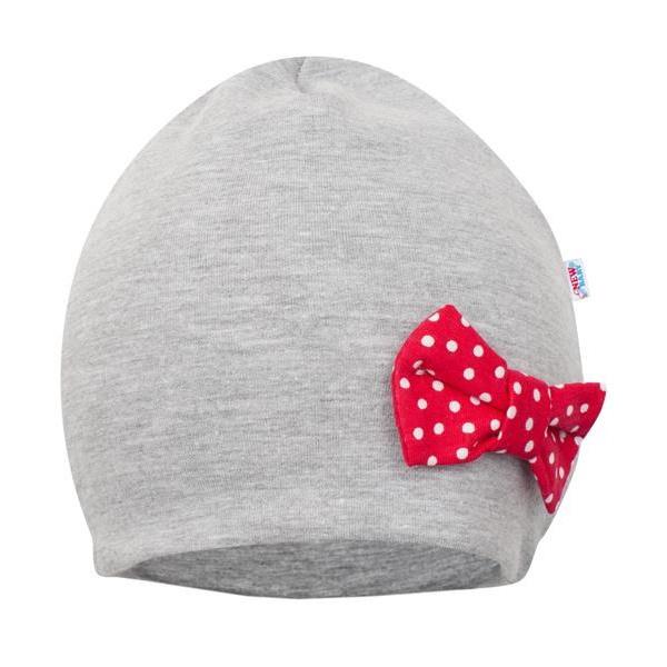 Dojčenská čiapočka s šatkou na krk New Baby Missy šedo-červená