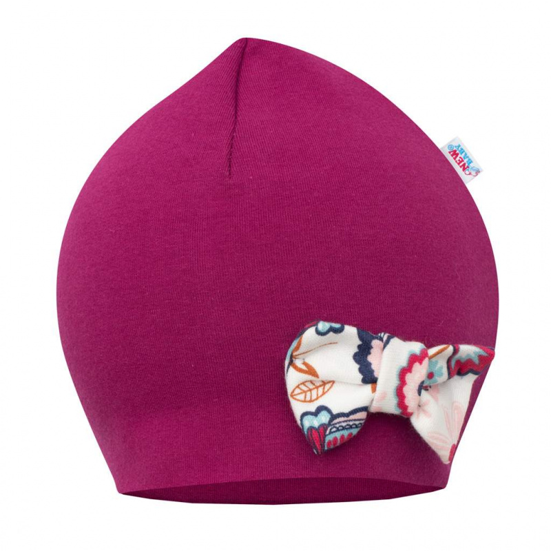 Kojenecká čepička s šátkem na krk New Baby Missy fialová