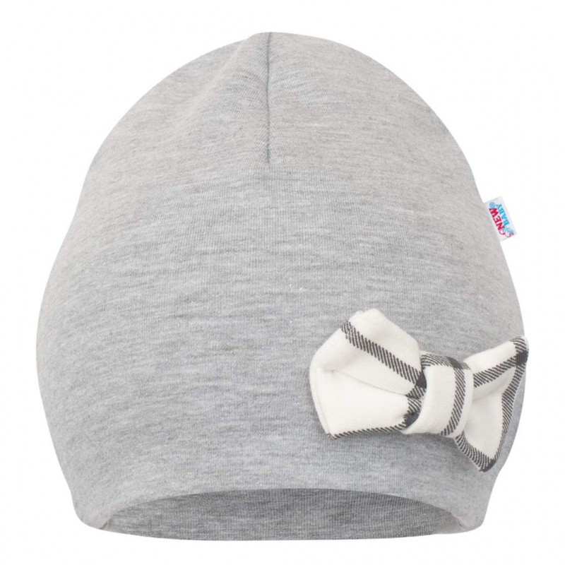 Dojčenská čiapočka s šatkou na krk New Baby Missy šedá