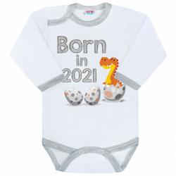 Body s potlačou New Baby Born in 2021 šedo-bielej