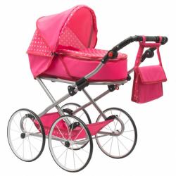 Detský Retro kočík pre bábiky 2v1 New Baby Anetka ružový s bodkami