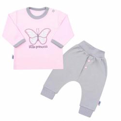 2-dielna kojenecká bavlnená súpravička New Baby Little Princess ružovo-šedá