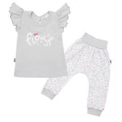 2-dielna kojenecká bavlnená súprava New Baby Happy Flower šedá