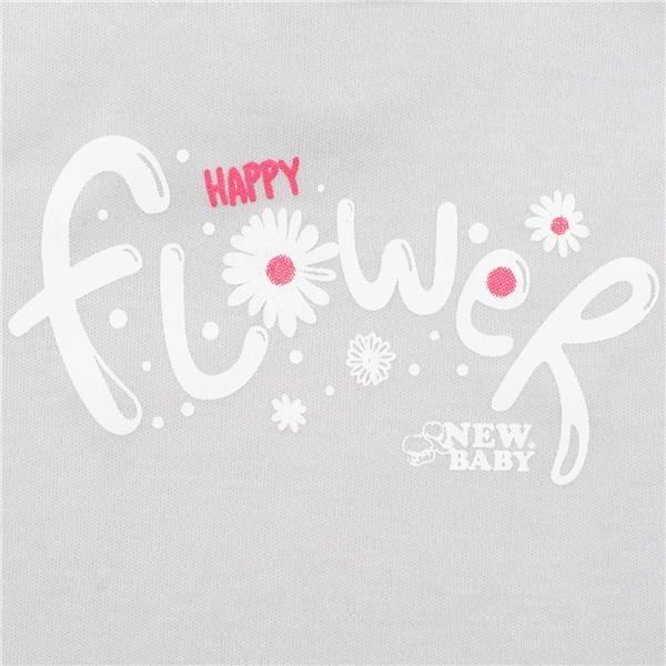 2-dílná kojenecká bavlněná souprava New Baby Happy Flower šedá